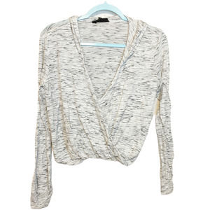 Olivaceous Marled Gray V-Neck Hoodie Sweater